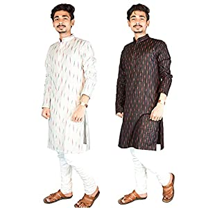 Riyashree Cotton Men's Straight Long Kurta for Men Latest Traditional Ikat Pattern Design Combo (Pack of 2) 001 005