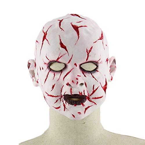 MYASOB Kostüm Kopf Maske Halloween-Geist-Puppen-Mask of Terror Christmas Party Props Geist Latex Maskerade Maske for Männer Groß Persönlichkeit (Color : Red and White Color)
