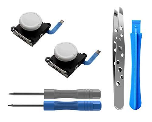 2PCs Reemplazo de Joystick Analógico para Nintendo Joy-con Controller y Switch Lite, 3D Thumb Stick Palanca Pulgar Palanca de Controlador, Destornillador Herramientas de Reparación (Blanco / Blanco)