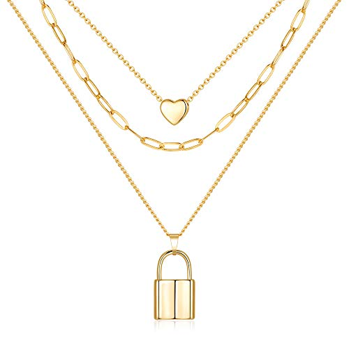 MONOZO Lock Necklace for Women, 14K Gold Filled Layered Lock Choker Necklace Dainty Girls Padlock Lock Pendant Chain Necklace Jewelry for Women