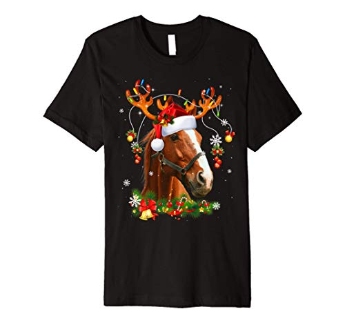 Horses Tree Christmas Sweater Xmas Pet Animal Horse Gifts Premium T-Shirt
