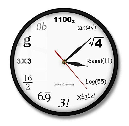 WLALLSS Wissenschaft Demokratie Mathematik Wanduhr Algebra Engineering Zahlen Mathematik Gleichung Moderne Uhr Mathematik Nerd Graduation Gift-Metal Frame