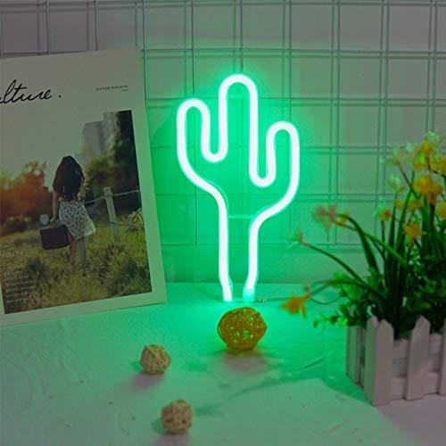 LED verde cactus Led Neon luce al neon di batteria o USB alimentato Neon Night Lights della luce al neon della decorazione della lampada da parete per i regali dei bambini dei bambini Camera da letto