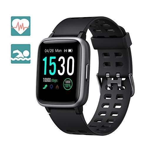 Arbily Fitness Armband Smartwatch Armbanduhr, Fitness Tracker für Damen Herren Kinder, Sportuhr mit Schrittzähler Pulsmesser Wasserdicht IP68 zum Schwimmen (Black)
