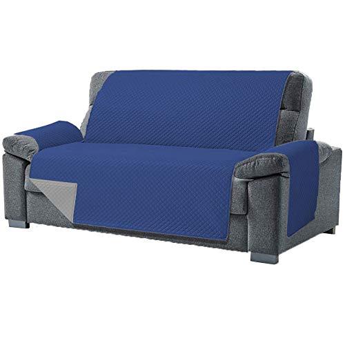 Domum Funda Cubre Sofá de 3 Plazas Relax. Fabricado en España. Funda de Sofá y Sillón Reversible y Acolchada. Protector para Sofá Reclinable. Funda para Butaca Orejera Color Azul
