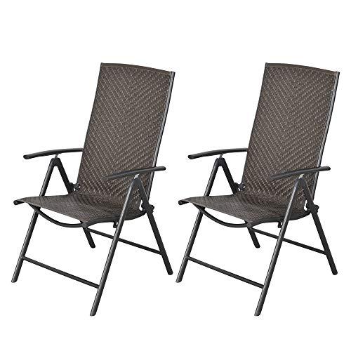 Outsunny Set de 2 Sillas Plegables de Ratán Jardín con Respaldo Alto y Ajustable de 7 Posiciones para Patio Terraza Exteriores 57x67,5x104 cm Gris