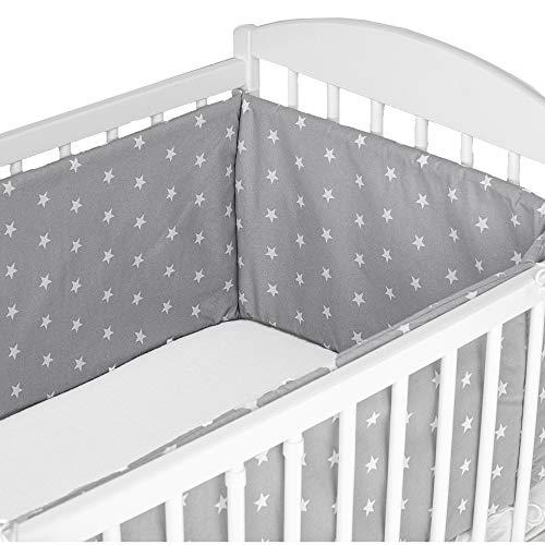 cojin protector cuna - chichonera bebe cuna Gris con estrellas blancas 180 x 30 cm