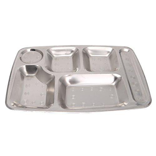 Taihely - Vassoio da pranzo in acciaio INOX, per la mensa, per la scuola, la mensa, la sala da...