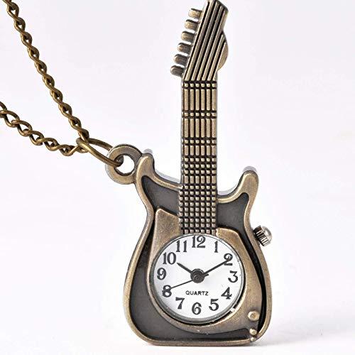 Bolsillos de trompeta Bronce Colgante de guitarra Forma de guitarra Reloj de...