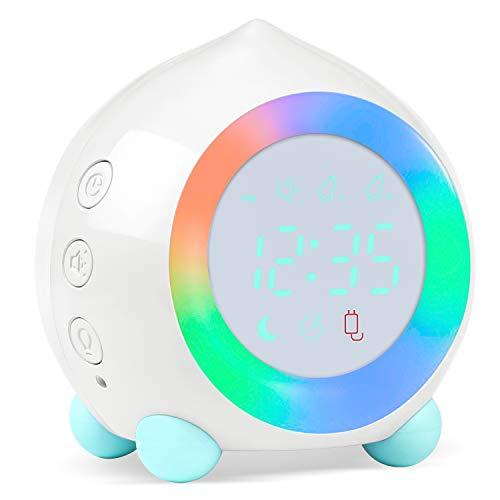 Kinderwecker Digitaler, Wecker Digital Sonnenaufgangssimulator Kinderwecker für Mädchen Jungen mit Bunte Lichter Leiser Wecker Ohne Ticken Schlafzimmer mit LED-Wecklicht & Nachtlichtlampe (Weiß)