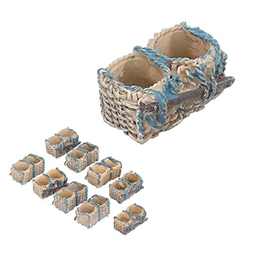 CUTULAMO Micro Landscape Bonsai Dekoration, besonderes Geschenk für Verwandte und Freunde Harzmaterial Miniatur Rattan Korb Ornamente für Weihnachten für Mädchen