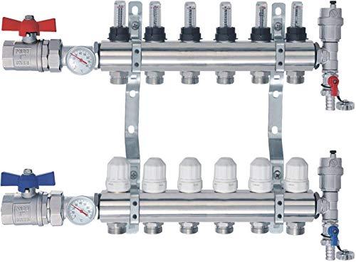 Heizkreisverteiler m Topmeter Flussmesser Kugelhähne Thermometer NORDIC- 6 Heizkreise