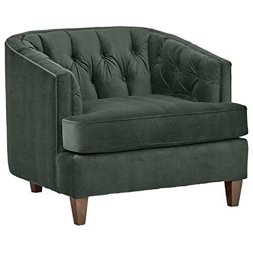 Stone & Beam Leila Tufted Velvet Oversized Accent Chair, Living Room Chair, Hunter Green