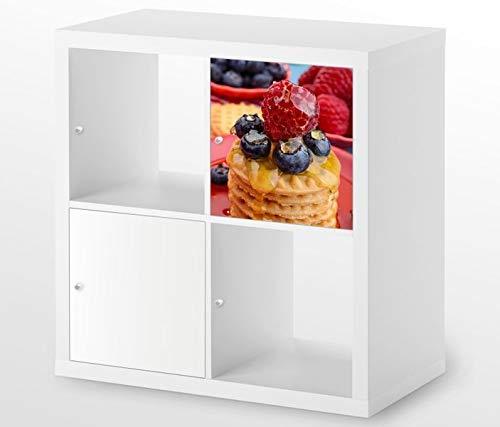 Möbelaufkleber für Ikea KALLAX / 1x Türelement Nachtisch Dessert Himbeere Kekse Kat8 Küche Aufkleber Möbelfolie sticker (Ohne Möbel) Folie 25D364