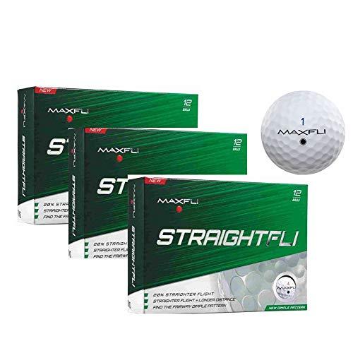 Maxfli StraightFli Golf Balls - Longer Straight Flight Distance (Gloss White - 36 Balls)