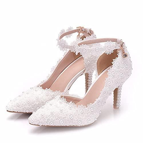 Zapatos De Novia para Mujer, Punta Cerrada, Tacón Alto, Encaje, Flor, Blanco,...