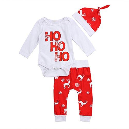 Geagodelia Babykleidung Set Weihnachten Baby Kleidung Jungen Mädchen Langarm Body Strampler + Hose Neugeborene Babyset Weihnachtsoutfit My First Christmas (6-12 Monate, Weiß & Rot 666)