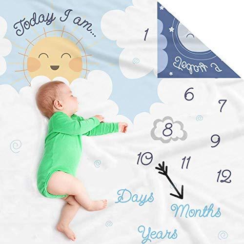 Manta de doble cara con diseño de hito de bebé