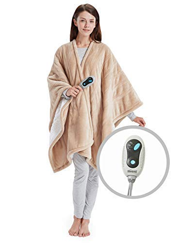Beautyrest- Electric Heated Throw Blanket Ultra Soft Warm Plush Sherpa Blanket Wrap – 3 Fast Heat Setting…