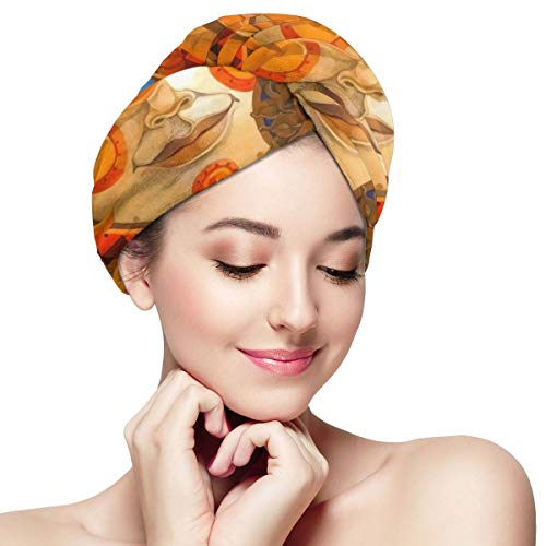 Psychedelic Sun and Moon Art Microfiber Hair Towel Wraps with Button for Women Quick Dry Anti-frizz Head Turban for Long Thick Curly Hair Super Absorb