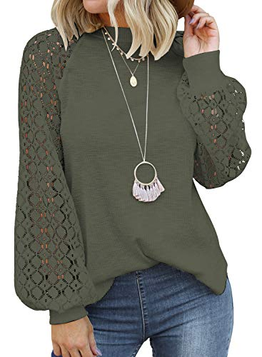 MIHOLL Women's Long Sleeve Tops Lace Casual Loose Blouses T Shirts (Army Green, Small)
