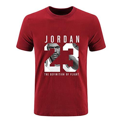 Bulls Jordan Camiseta de Manga Corta Camiseta de Baloncesto Deportiva para Hombre Red-L