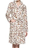 Albornoz Franela Bata De Baño Mujer Leopardo Ropa De Dormir Pijama Ducha Baño SPA Leopardo M