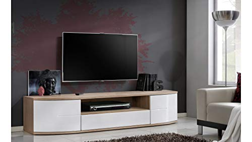 Stylefy ONTORIO II Lowboard TV-Board Fernsehtisch (HxBxT): 43x190x48 cm San Remo/Weiß Hochglanz
