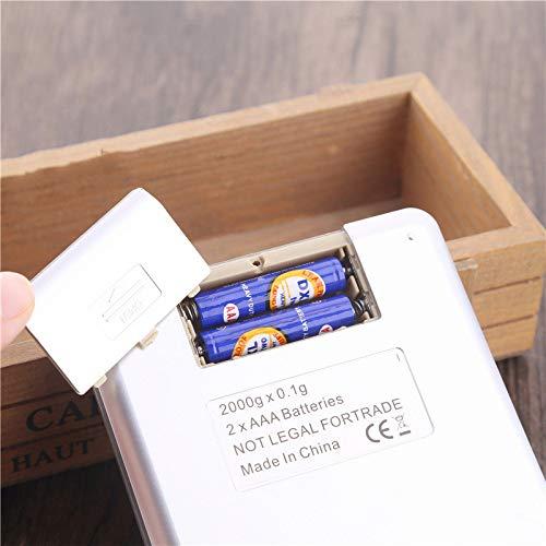 yurunn Báscula de Cocina Digital báscula electrónica Gran Superficie de pesaje iluminación Pantalla LCD Chino (2 kg / 0.1g)