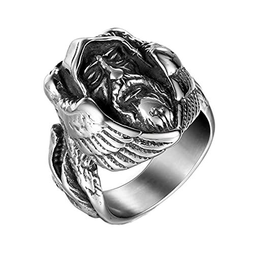 DFWY Mitología Nórdica Odin Wolf Anillo de Vikingo de Acero Inoxidable, Hombres Mujeres Cuervo Lobo Totem Amuleto Anillo, Moda Hip Hop Gótico Celta Pagan Animal Joyería Tamaño 7-13 (Size : 07)