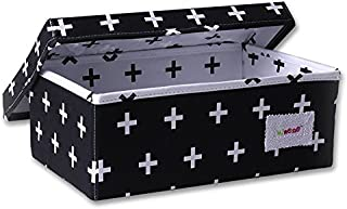 Minene Storage Box  Small  Black with White Cross