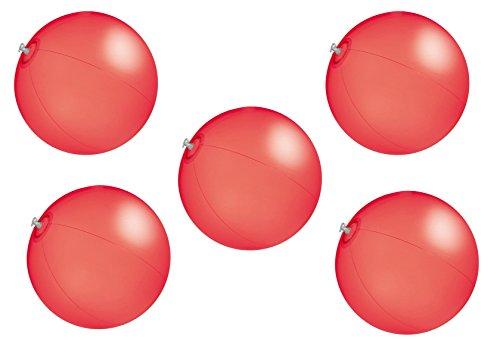 5x Strandball / Wasserball / Farbe: rot