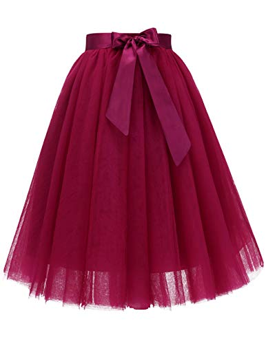 Bridesmay Women's Knee Length 5-Layered Tulle Skirt Evening Party Prom Skirt Green L