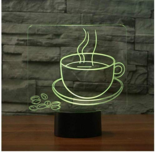 3D Nachtlicht Eine Tasse Kaffee Tee Stil Luminaryfashion Lampe für Coffee Shop Restaurant Esszimmer Dekoration Lampada Led