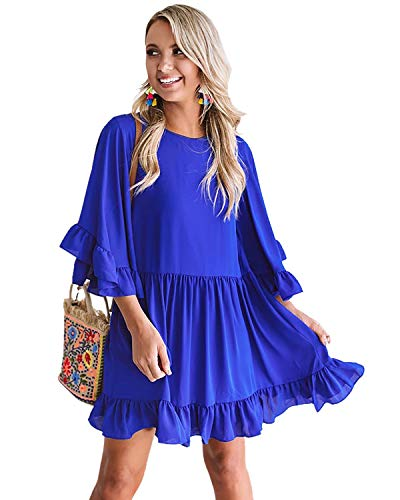 LANISEN Chiffon Party Dresses for Women,Womens Summer Ruffle Sleeve Casual Loose Solid Babydoll Mini Dresses Flowy Crew Neck Chiffon Short Party Dresses Blue S