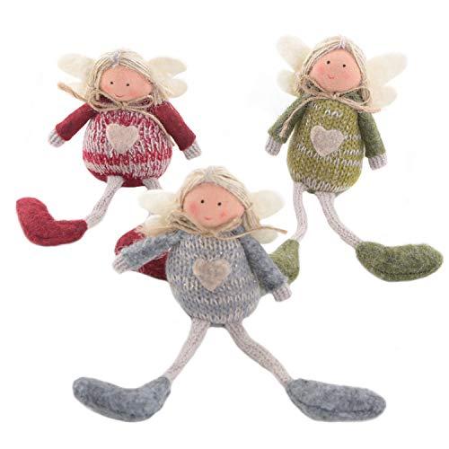 Logbuch-Verlag 3 Stoffengel 16 cm - Engel Figuren als Schutzengel rot grau grün mit Herz - kleines Geschenk Kindergeburtstag Weihnachten