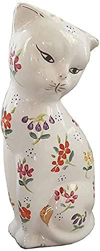 WQQLQX Statue Blaue und weiße Porzellan Katze Statue Ornamente Chinesische Keramik Handgemachte Tierskulptur Kunst Figuren Geschenke Home Decoration Zubehör Skulpturen (Color : Color)