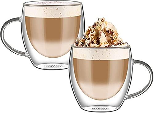 HUAQIGUO Tazas 250 ml doble tazas de café con la manija Tazas de beber aislamiento de doble pared taza de té regalo creativo bebidas leche (A)