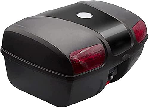 Caja De Cola Del Recorrido De La Motocicleta Universal, Caja De La Moto Caja De Cola Scooter Tronco Equipaje Top Caja De Almacenamiento Caja Con El Respaldo Suave Y El Sistema De Liberaci(Color:negro)