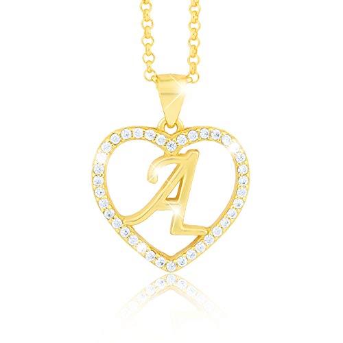 Palus us Halsketting letter A in hartvorm bestaande uit talrijke zirkoniasteentjes, 18-karaats verguld, voor dames of jongeren, incl. een hoogwaardige sieradendoos en certificaat