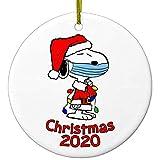 JOERRES 2020 - Decorazioni natalizie in ceramica, personalizzate a mano, Snoopy con maschera, per la vigilia di Natale, in ceramica da appendere, idea regalo per la calza di Babbo Natale (lub)