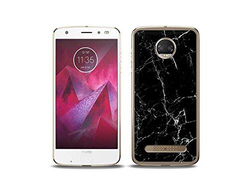 etuo Handyhülle für Motorola Moto Z2 Force - Hülle Fantastic Case - Schwarze Marmor - Handyhülle Schutzhülle Etui Case Cover Tasche für Handy