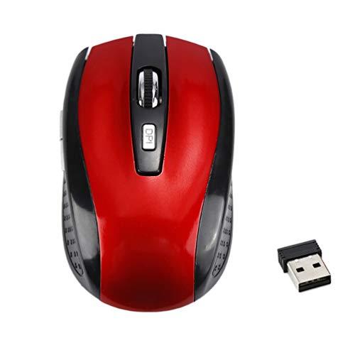 YMKT Ratón inalámbrico para videojuegos de 2,4 GHz, ratón USB para computadora portátil, 6 teclas, 3 niveles ajustables, ratón inalámbrico ergonómico para Mac PC Notebook