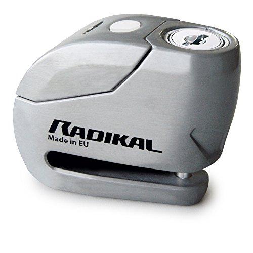 Radikal RK9Z Candado Antirrobo Moto Disco Alarma 120db + Warning, ø6, Fabricado en Europa, INOX