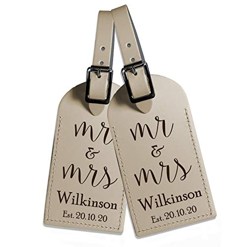 Pair of Personalised Engraved Mr & Mrs Leather Luggage Tag for Suitcases, Travel Cases Custom Wedding Gift Genuine UK Leather Travelling Honeymoon or Holiday Accessory … (Nude)