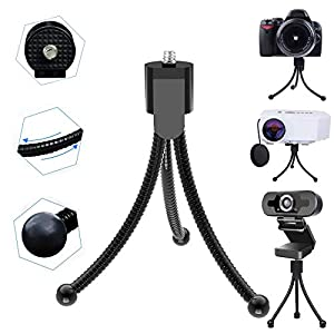 Webcam Stand, Horuhue Adjustable Height and Angle Flexible Tripod for 1/4 Inch Tread Mount Webcam and Cameras, Travel Portable Mini Tripod Stand for Conference Room Desktop