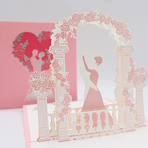 3D Hochzeitskarte, pop up Hochzeitskarte, Geschenkkarte als Glückwunsch zur Hochzeit, Wedding Card Glückwunschkarte Geburtstags Hochzeitstag Valentinstag, Geschenke zur Hochzeit