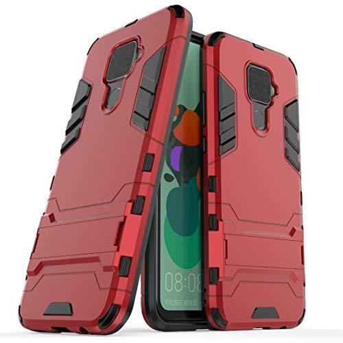 Sevenplusone Luz y hermosa, fácil de transportar PC a prueba de golpes + funda TPU con soporte para Huawei Nova 5i Pro (negro) Todos los botones y puertos son accesibles. (Color: rojo)