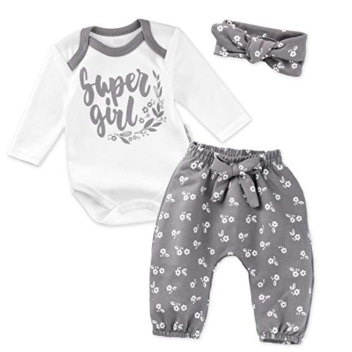 Baby Sweets 3er Baby-Erstausstattung-Set Good Girl für Mädchen mit Langarm-Body, Hose und Haarband in Weiß-Grau als Baby-Bekleidungsset für Neugeborene und Kleinkinder/Größe 62 (0-3 Monate)