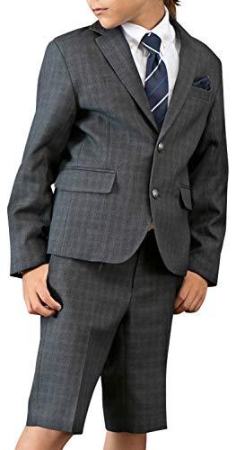 [アリサナ]arisana 入学式 男の子 スーツ 卒園式 子供服 フォーマル クリスチャン (ジャケット +パンツ+シャツ + ネクタイ+ポケットチーフ の 5点 セット) C.グレーチェック 130cm